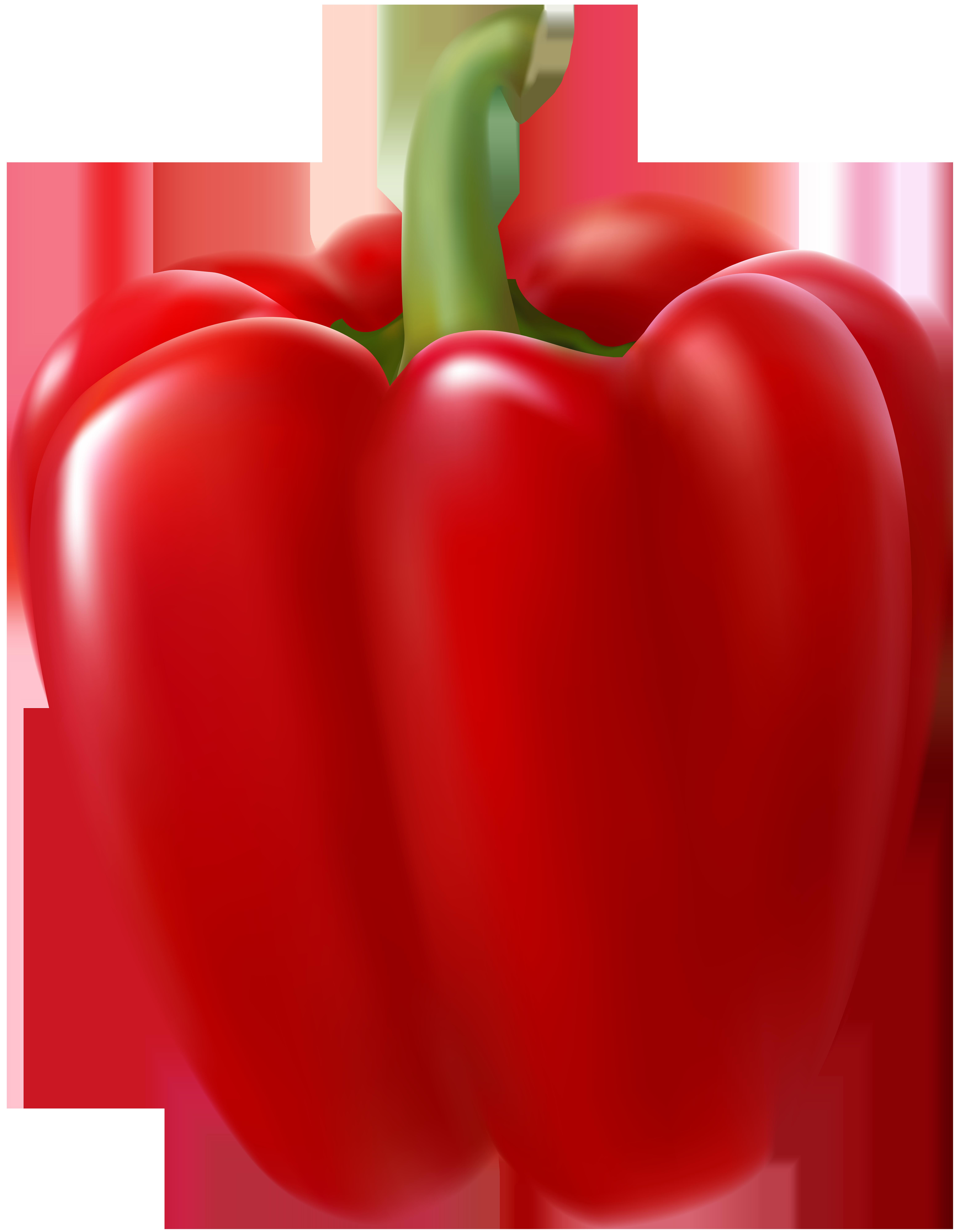 Red Bell Pepper Transparent Clip Art Image.