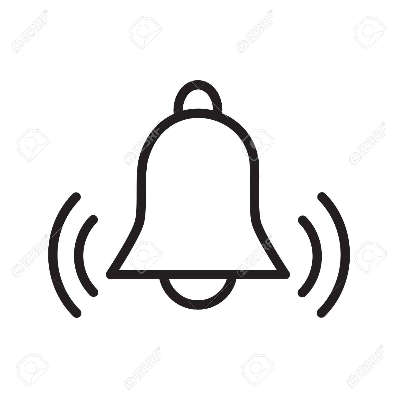 Simple flat black outline vector icon alarm bell ringing reminder...