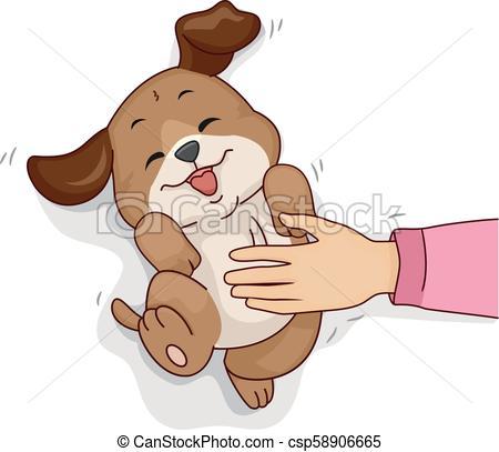 Dog Hand Belly Rub Illustration.