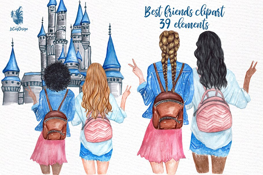 Best Friends Girls Clip art ~ Graphics ~ Creative Market.