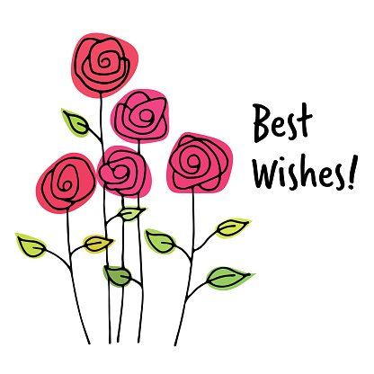 Best wishes greeting card Clipart Image.