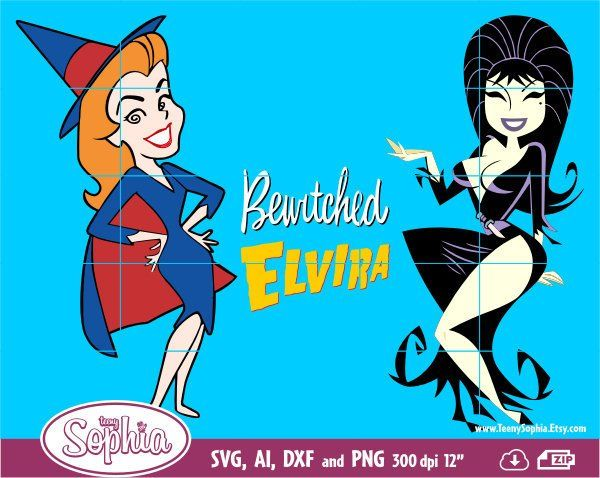 Bewitched and Elvira Happy Halloween Party characters.