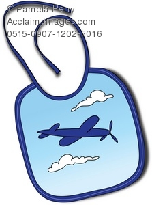 Clip Art Illustration of a Baby Bib With a Plane Graphic.