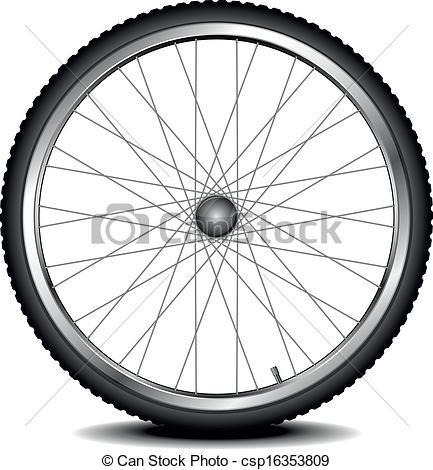 Vector Clipart of bike wheel.