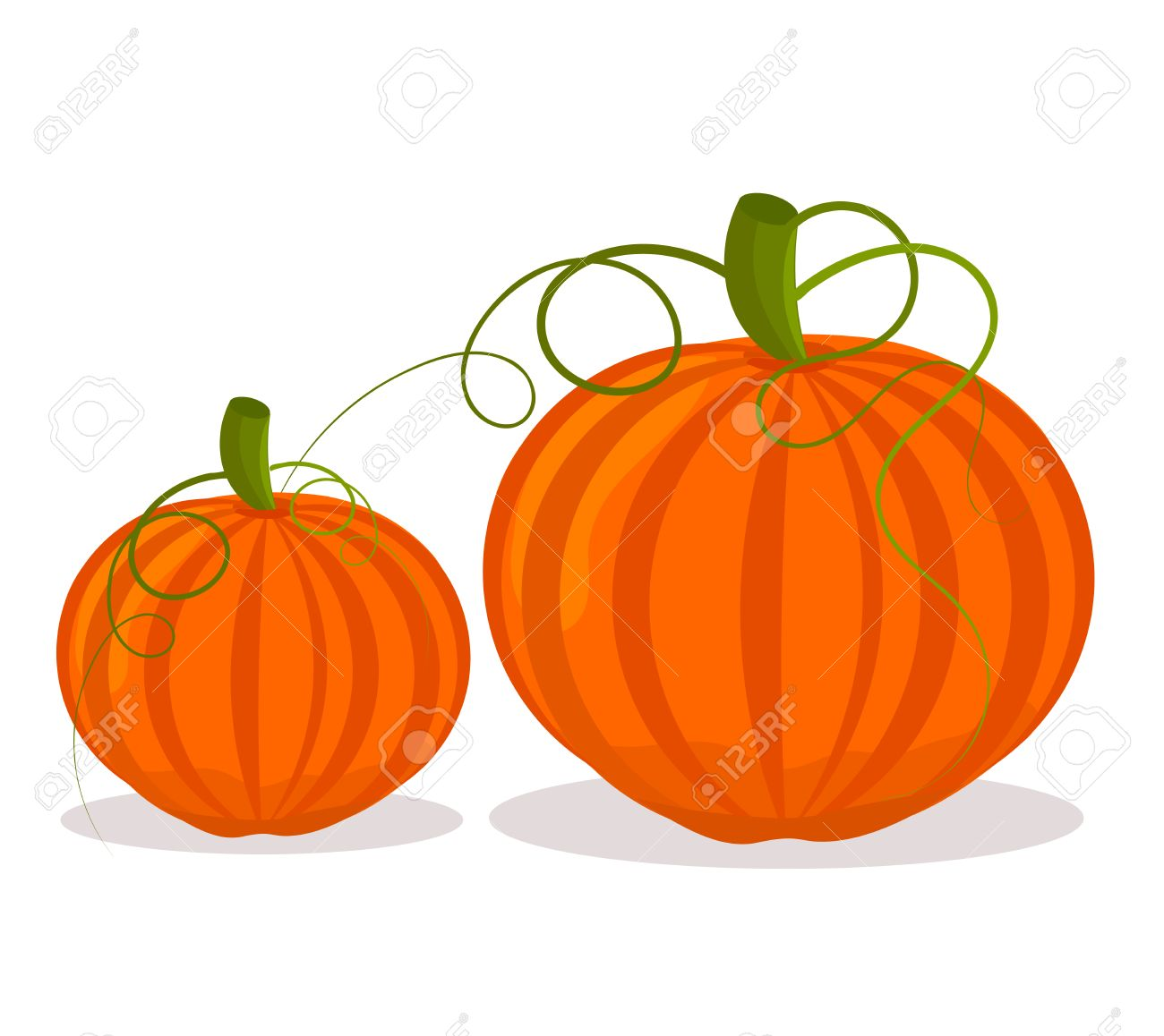 Two pumpkins, big and small over white.