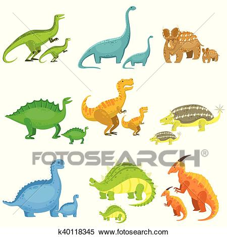 Different Dinosaurs In Pairs Of Big And Small Clipart.
