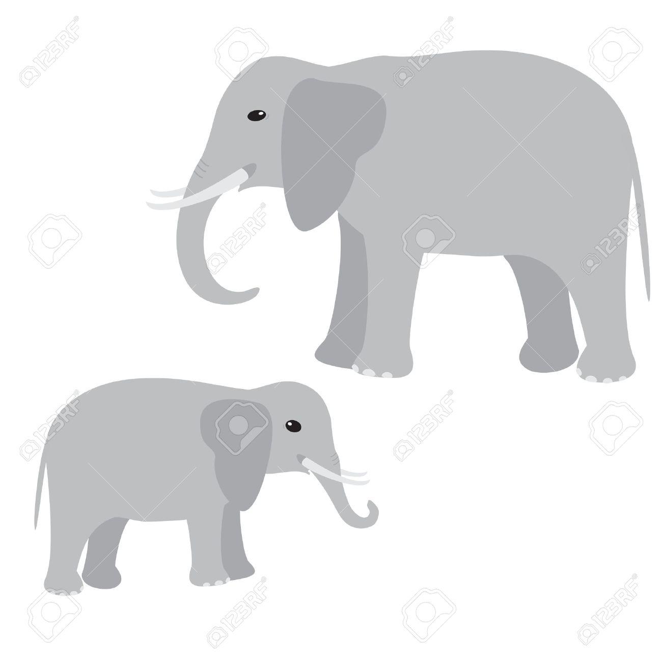 Big and little elephant isolated on white.