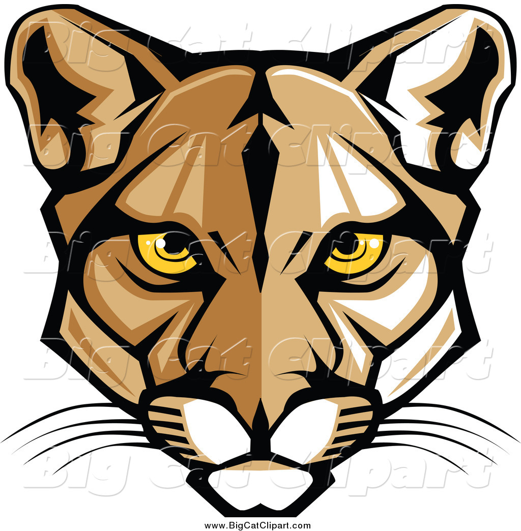 Big Cat Vector Clipart of a Cougar Face with Yellow Eyes by.