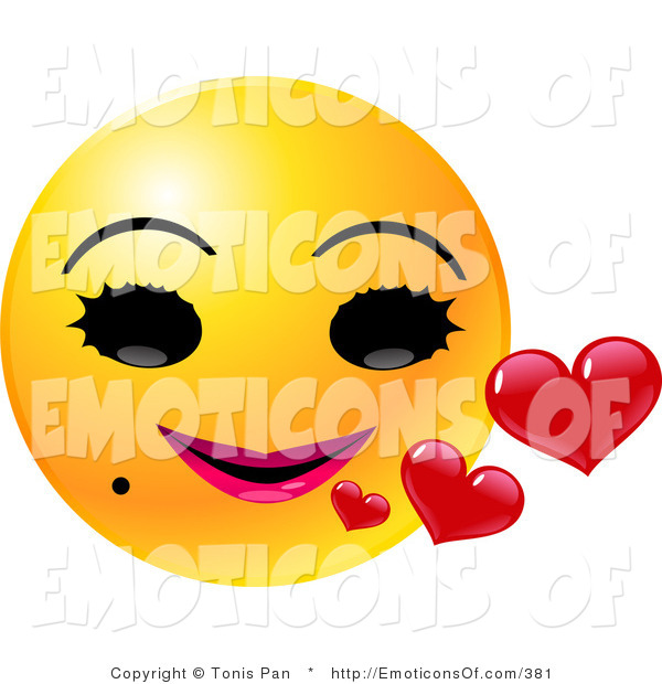 Clip Art Vector of a Round Yellow Female Emoticon Face with Big.