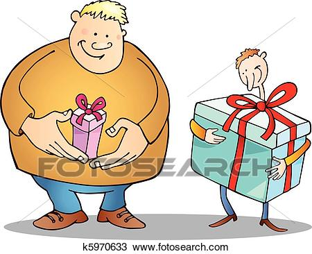 Big man with small gift and thin guy with huge one Clipart.