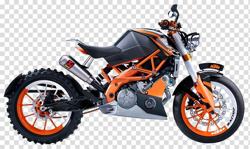 Black and orange motorcycle illustration, KTM 200 Duke.