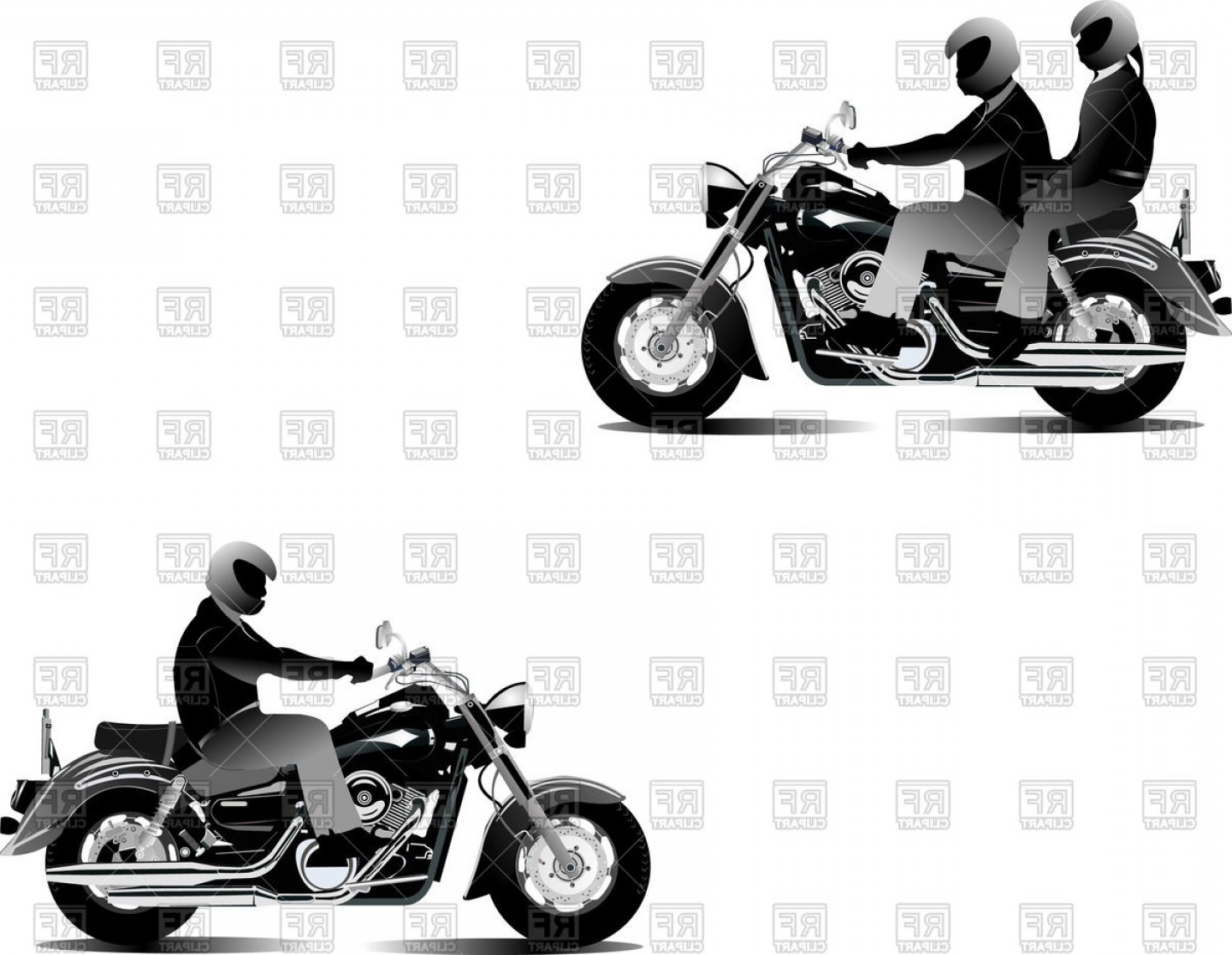 Motorcyclists On Chopper Motorcycle Bikers Vector Clipart.