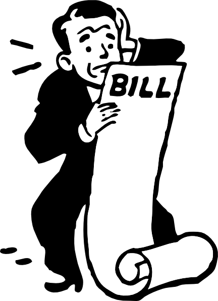 Worried About A Bill clip art.