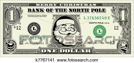 Vector Santa One Dollar Bill Clipart.