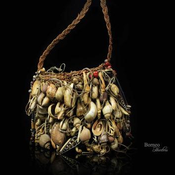 Bilum Bag Papua New Guinea Vintage Tribal Ceremonial Bag Mixed Shells,  Teeth,Seeds, Beads, Bone Collectible Oceanic Art.