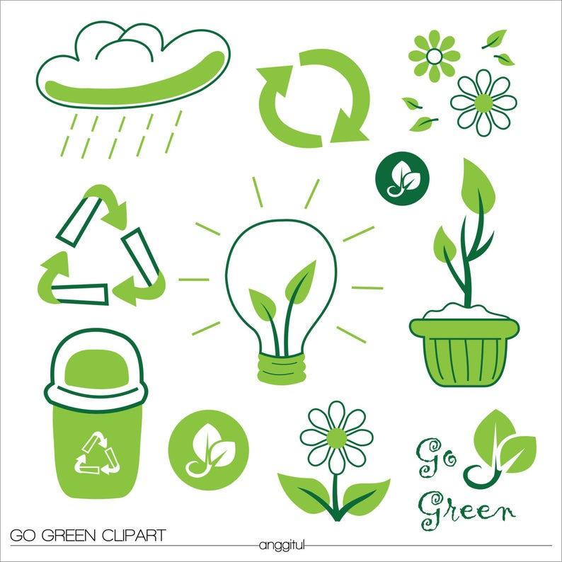 GO GREEN NATURAL Bio Clipart Vector Instant Download.