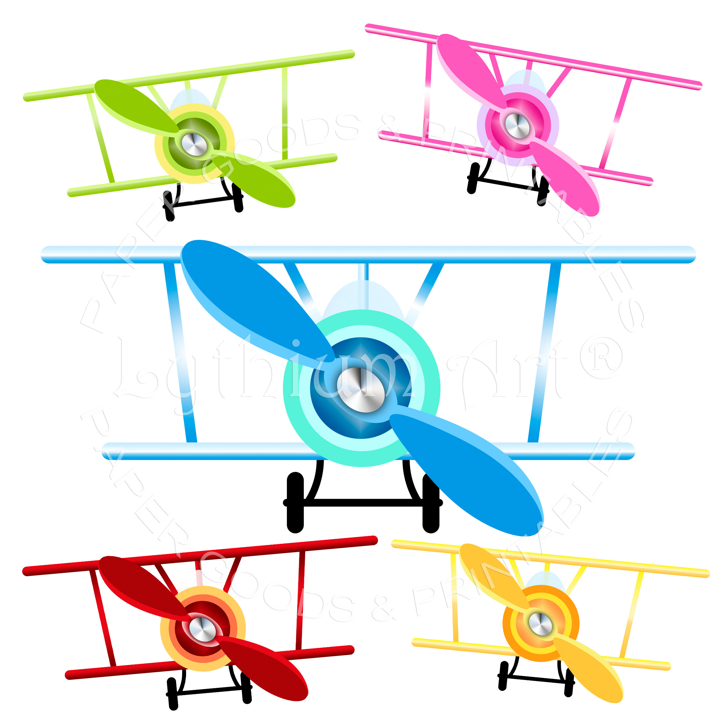 AIRPLANE CLIPART, Airplanes Clipart PNG, Biplane Clipart Transparent  Background, Clip Art Set of Airplanes, Retro Airplane, Instant Download.