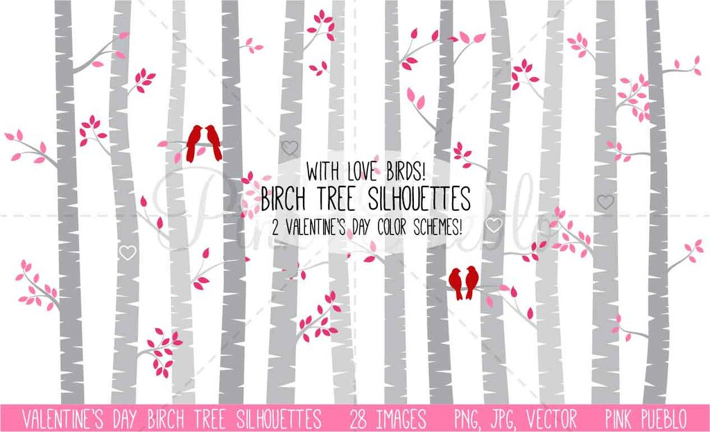 Valentine\'s Day Birch Trees Clipart and Vectors.