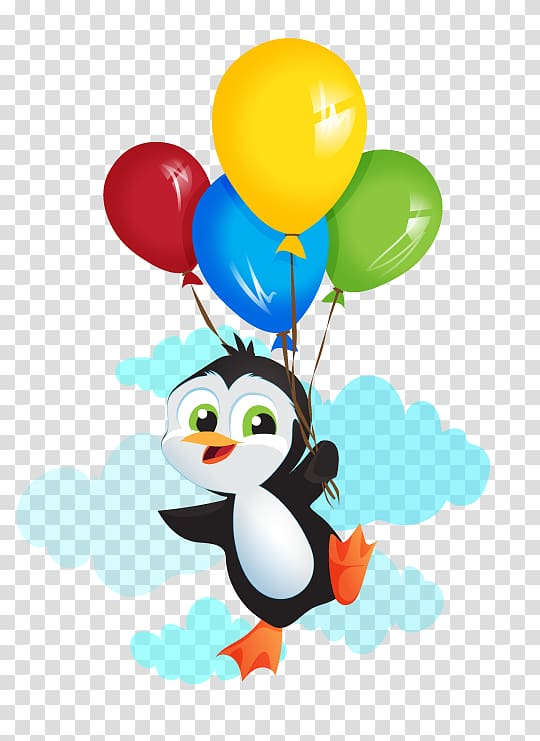 Penguin Balloon Bird , Penguin transparent background PNG.