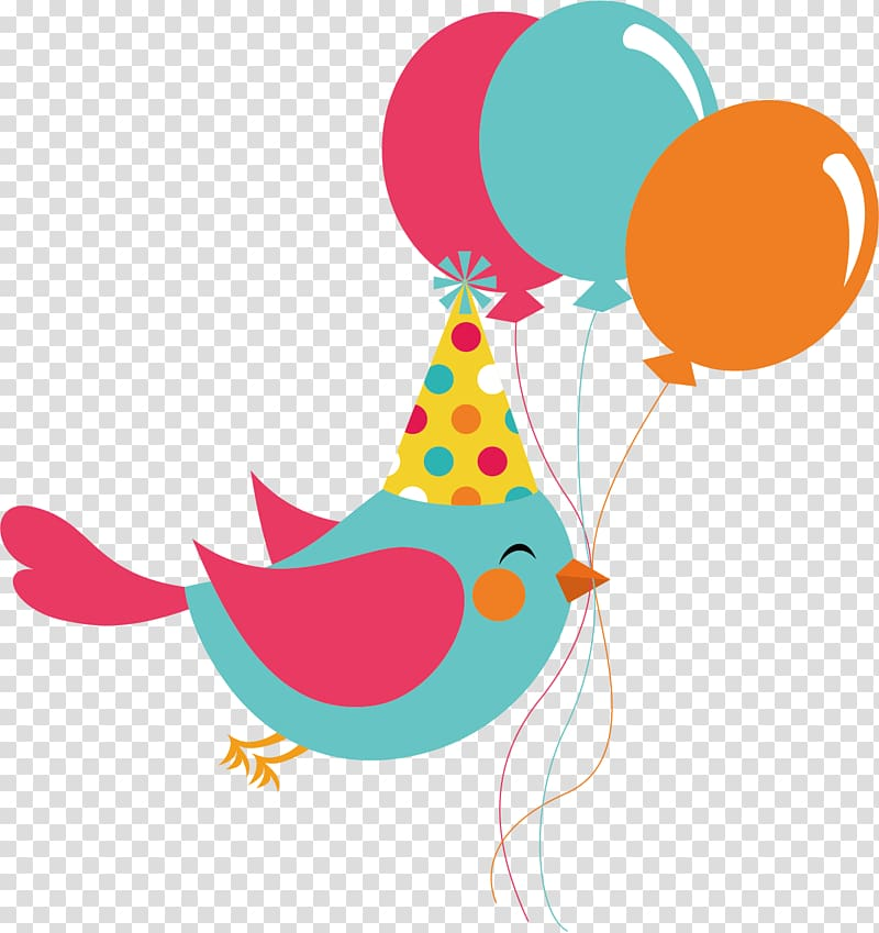 Teal bird and balloons art, Party favor Birthday Balloon.