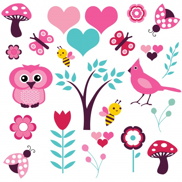 Birds, Flowers Nature Clipart Free Stock Photo.