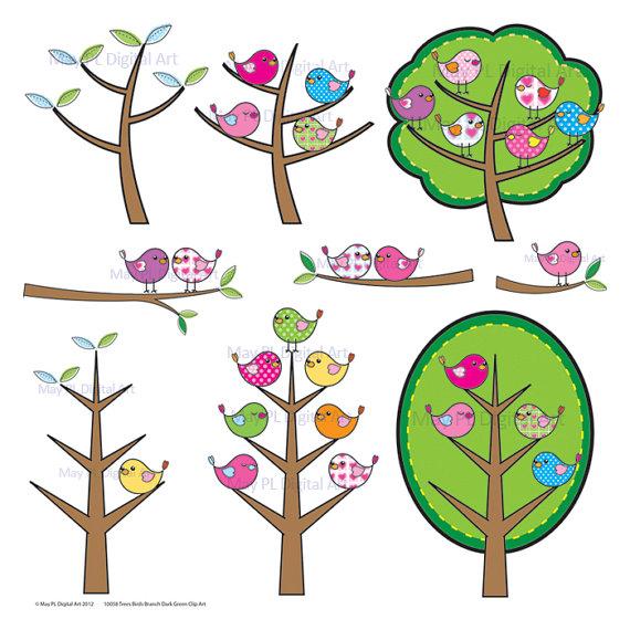 Birds Tree Clipart Digital Cute Birds VECTOR Clip Art Pink Blue.