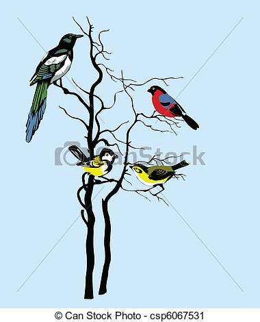 Vector Clip Art of vector silhouette of the birds on tree.