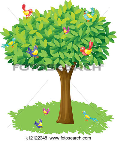 Clip Art of A tree and birds k12122348.