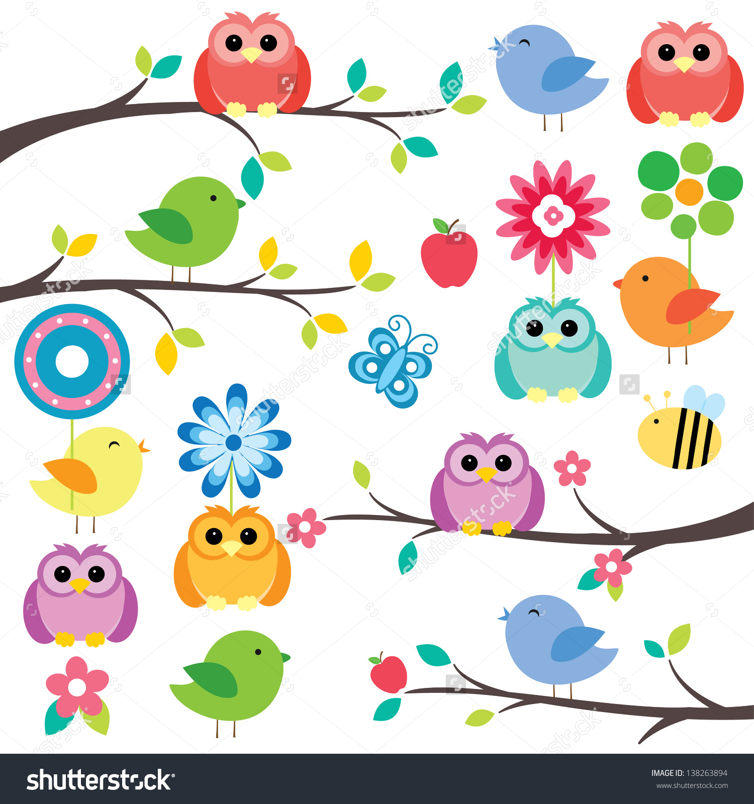 Birds On Tree Digital Clip Art Stock Vector 138263894.