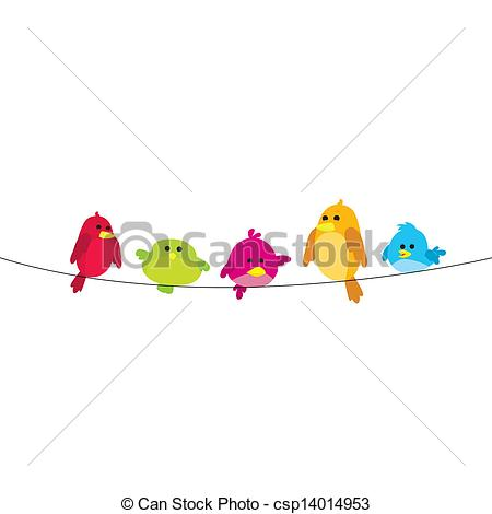 Clipart Vector of birds on wire.