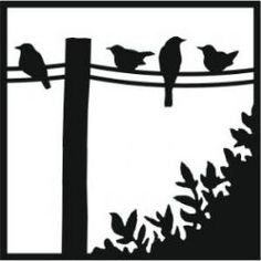 Bird on a Wire (black) Silhouettes // Nature Birds Silhouette.