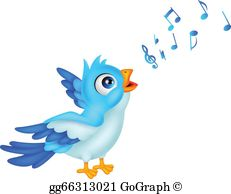 Cute Blue Bird Cartoon Singing Clip Art.