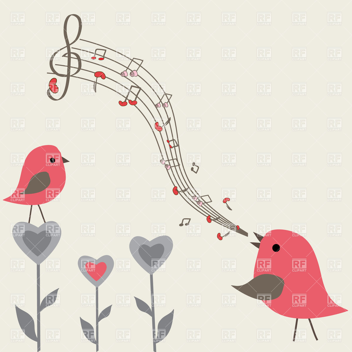 Couple of pink spring birds singing Stock Vector Image.