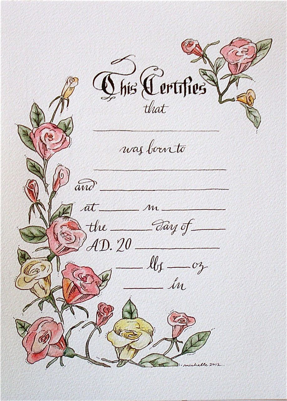 hand drawn & painted birth certificate (perfect for a little.