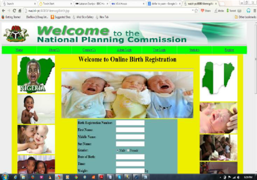 3 Online Birth Registration form page..