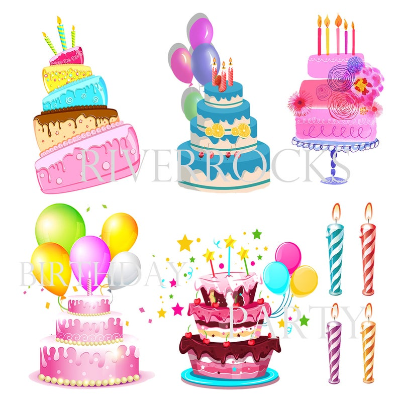 Birthday Cakes and Candles Digital Clipart Colorful Balloons Happy Birthday  Topsy Turvy Cake Pink Cake Blue Cake Chocolate, Striped Candles.