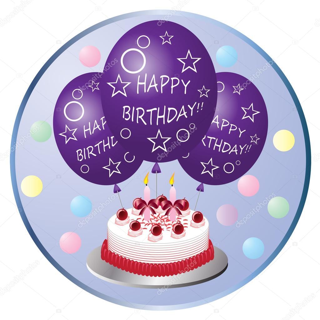 Clip art of a birthday cake and balloons — Stock Vector © kozzi2.