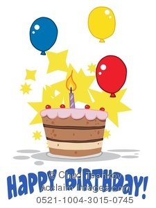Clipart Image of A Happy Birthday Cake and Balloons.
