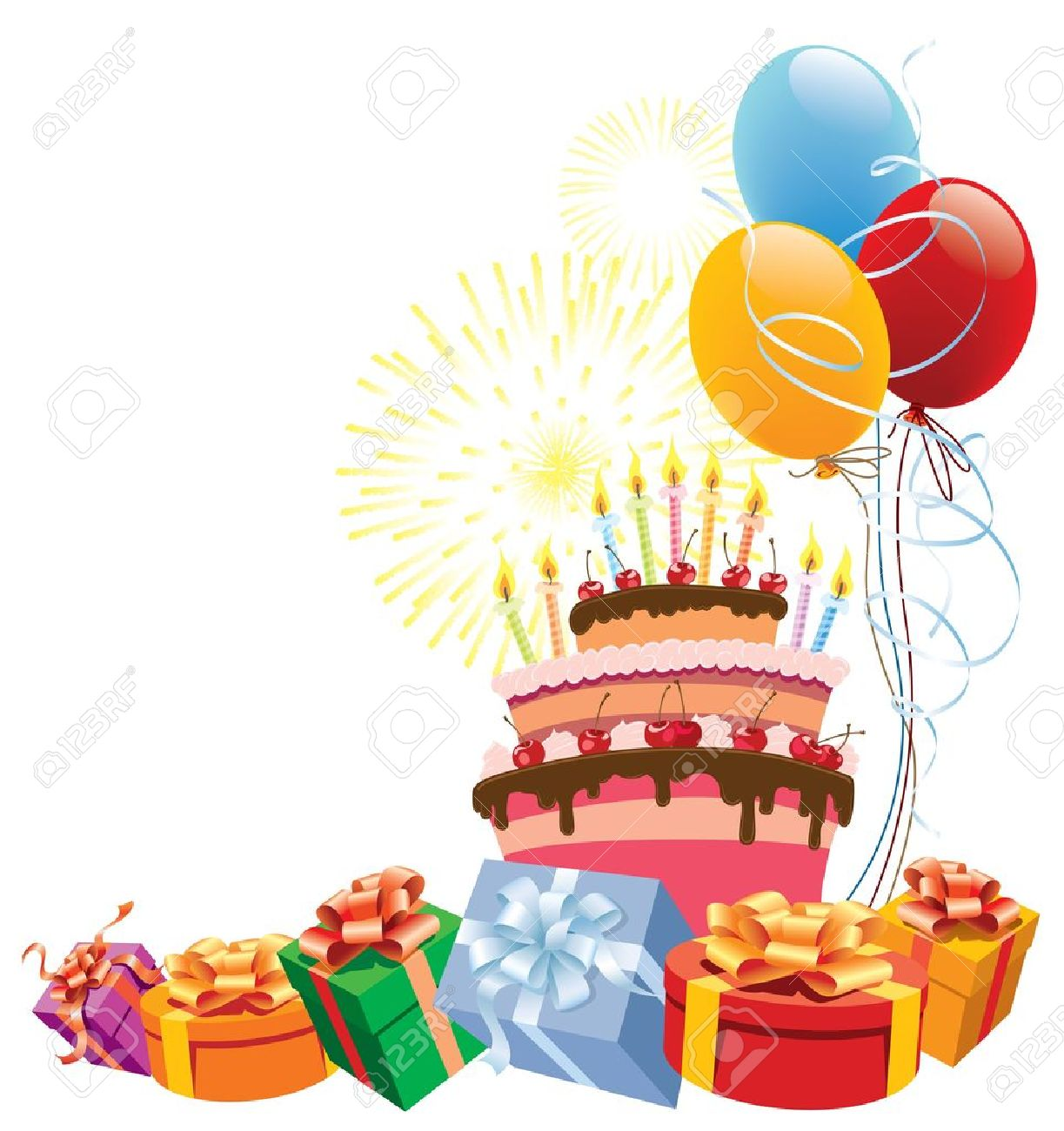 Colorful birthday cake with balloons and gifts..