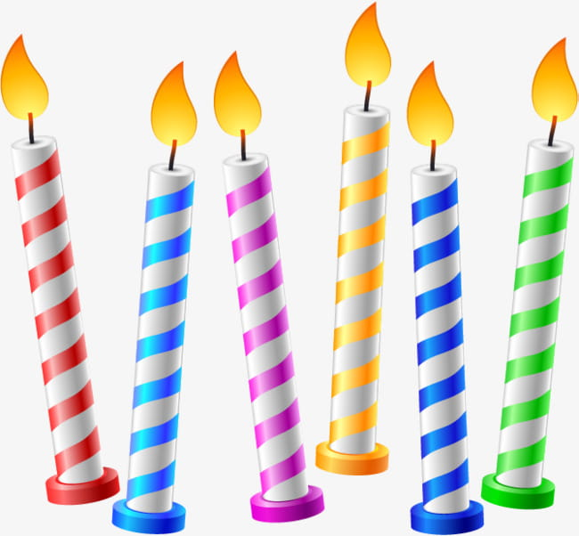Hand painted birthday candles PNG clipart.