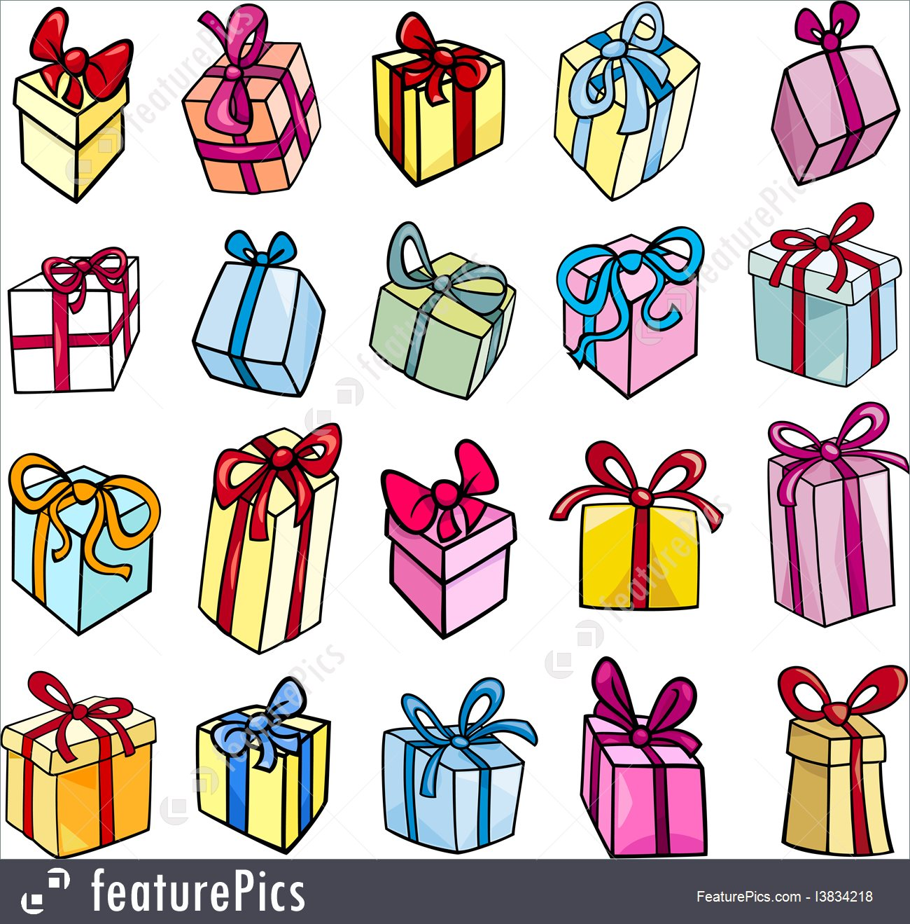 Christmas Or Birthday Gift Clip Art Illustration.