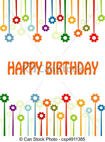 Clipart Vector of Happy birthday card.