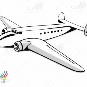 Airliner Or Plane Black Icon On White Background Vector Clipart.