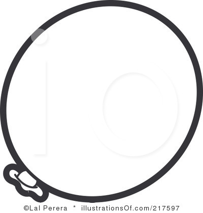 Black And White Single Balloon Clipart.