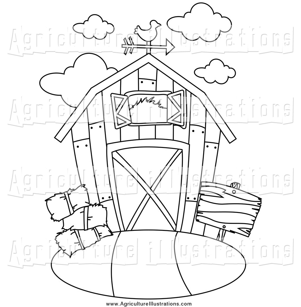 Agriculture Clipart of a Black and White Barn by BNP Design.