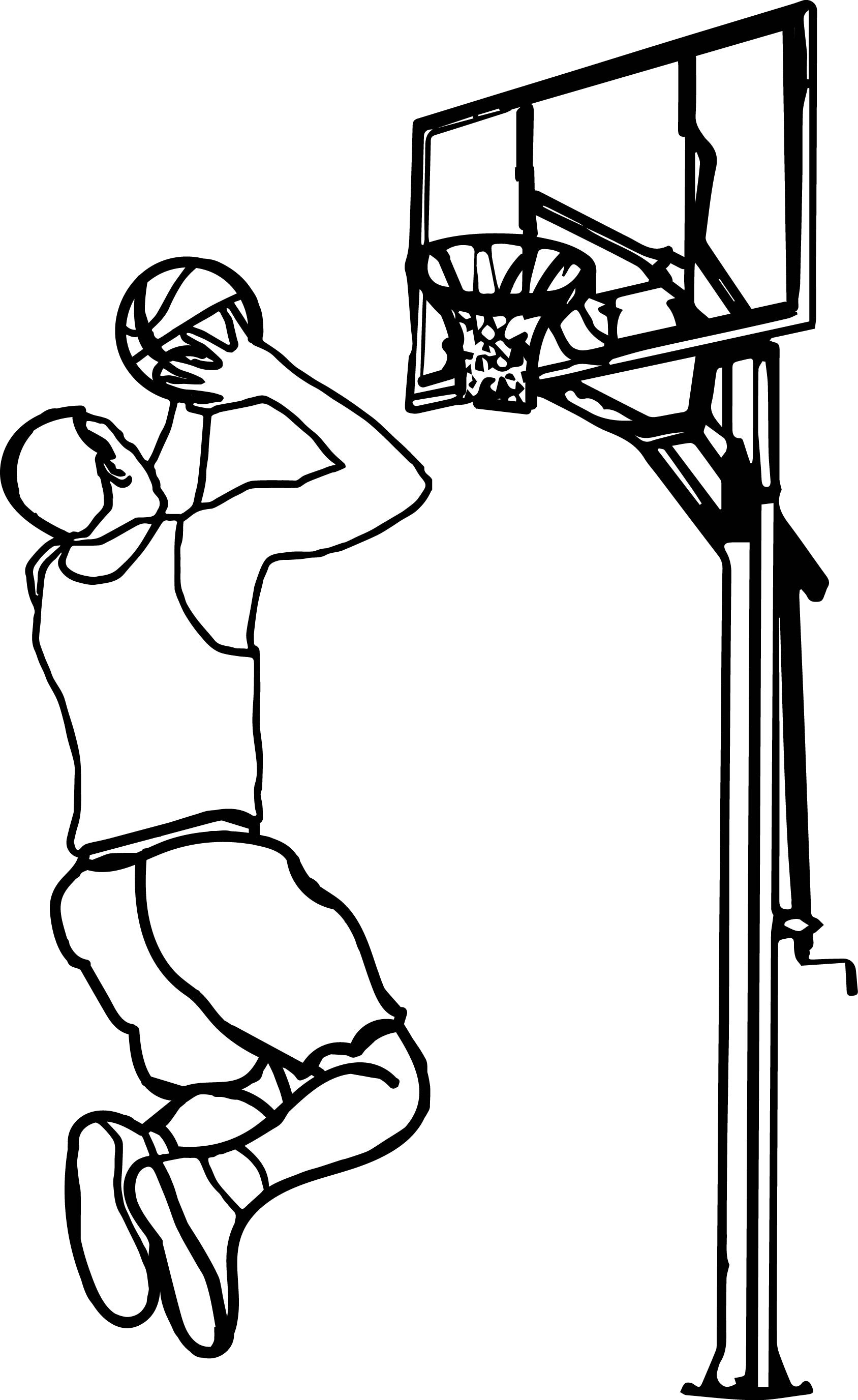 Basketball Outline Playing Clipart The Cliparts Play Black And White.