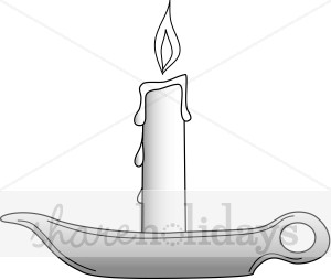 Black and White Candle with Holder Clipart.
