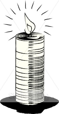 Black and White Sketch Image Candle.