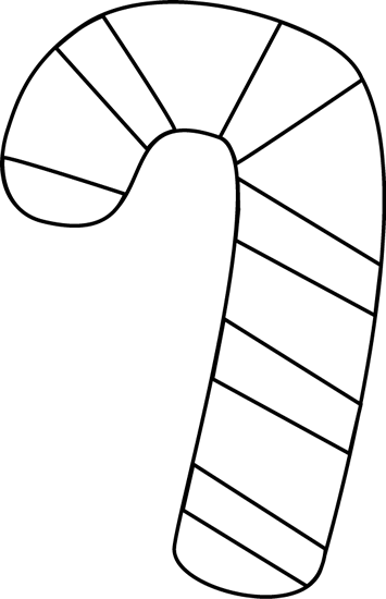 Black and White Candy Cane Clip Art.