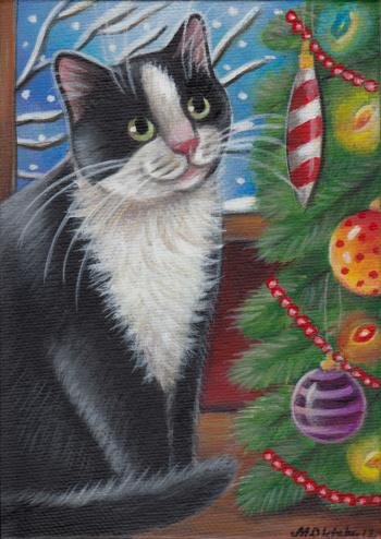 Black & White Tuxedo Cat Christmas Tree